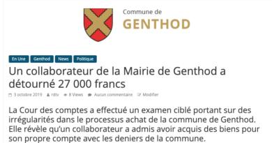 Un collaborateur de la Mairie de Genthod a détourné 27 000 francs